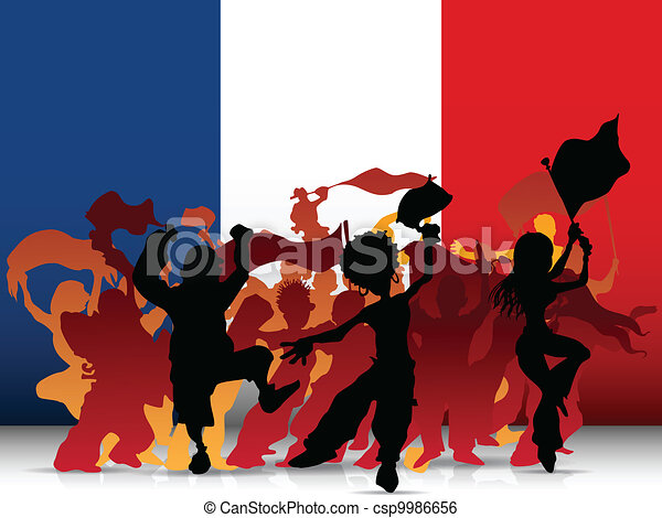 France Sport Fan Crowd with Flag - csp9986656