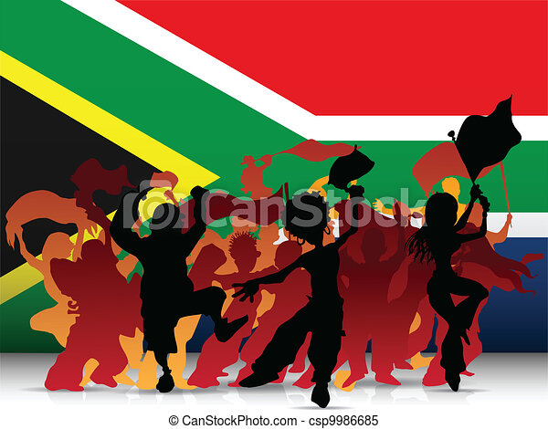South Africa Sport Fan Crowd with Flag - csp9986685