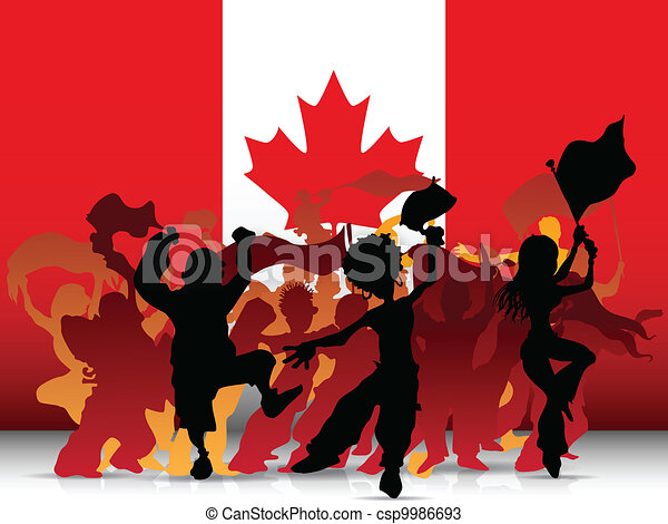 Canada Sport Fan Crowd with Flag - csp9986693