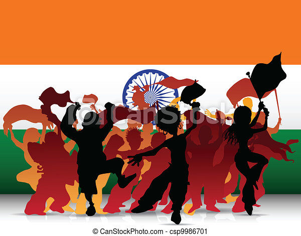 India Sport Fan Crowd with Flag - csp9986701