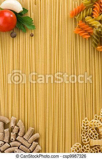 macarronada, cru, alimento, ingrediente - csp9987326