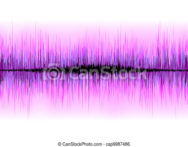 Sound waves oscillating on white background. EPS 8 - csp9987486
