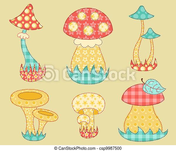 Vintage mushroom patchwork set. - csp9987500