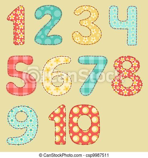 Vintage numbers patchwork set. - csp9987511