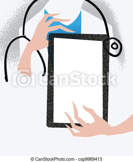 Vectors of Doctor holding a tablet. Medical illustration ...