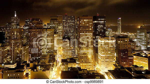 aerial of San Francisco by night - csp9989891