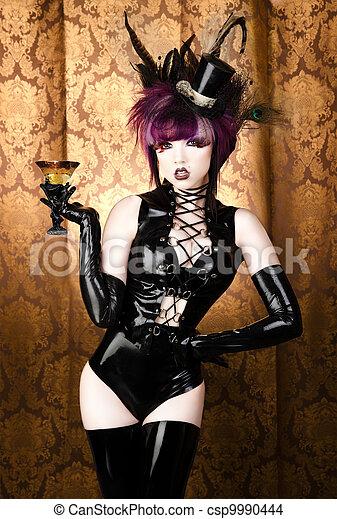 vixen, charmant, vendange, -, verre, retro, sexy, cabaret - csp9990444