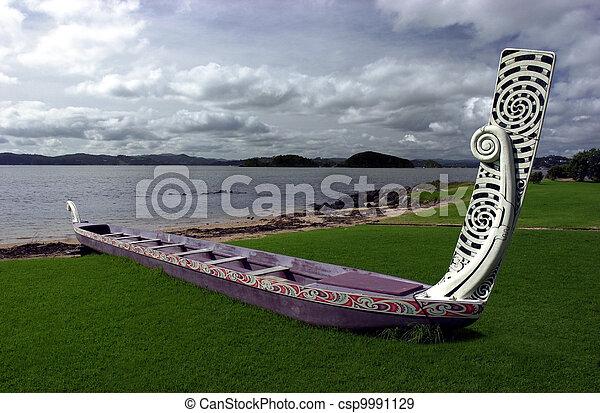 Traditional New Zealand Maori Waka - csp9991129