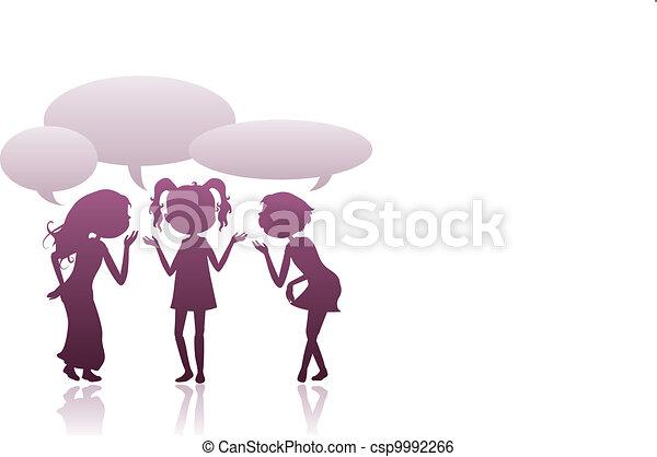 girls silhouettes talking - csp9992266