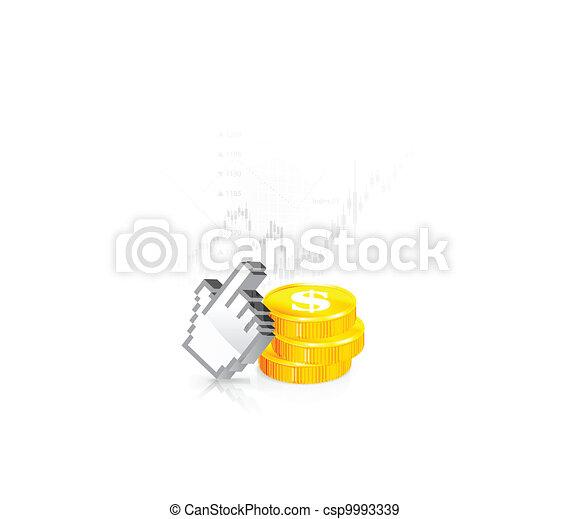 A cursor with the coins - csp9993339