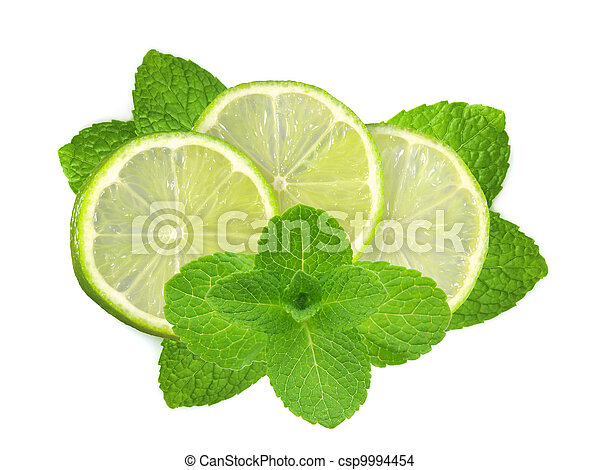 fresh slices lime with leaf mint isolated on white - csp9994454