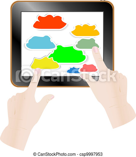 Cloud computing concept. Finger touching cloud on a touch screen. Vector illustration - csp9997953