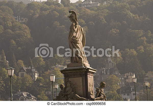 Statue of Minerva on the Old Bridge in Heidelberg, Germany - csp9999656