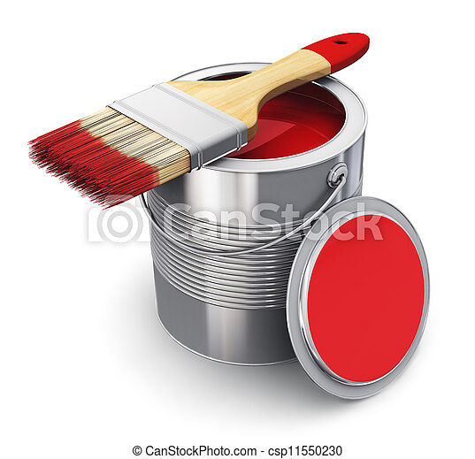 Can with red paint and paintbrush - csp11550230
