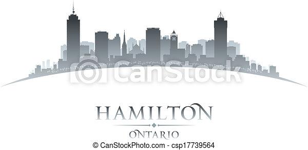 canadá, cidade, ontário, ilustração, silhouette., skyline, vetorial, hamilton - csp17739564