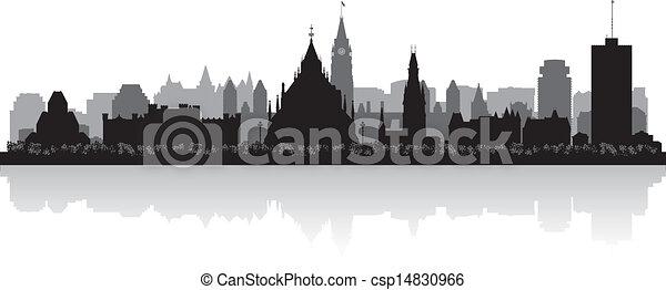 Ciudad de Canadá Ottawa vector silueta - csp14830966