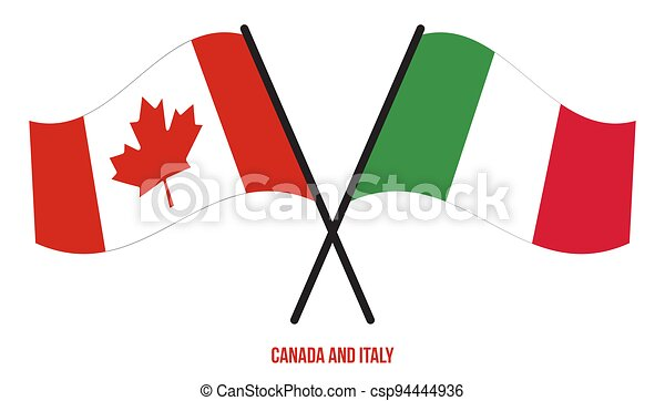 Canada and Italy Flags Crossed And Waving Flat Style. Official Proportion. Correct Colors - csp94444936