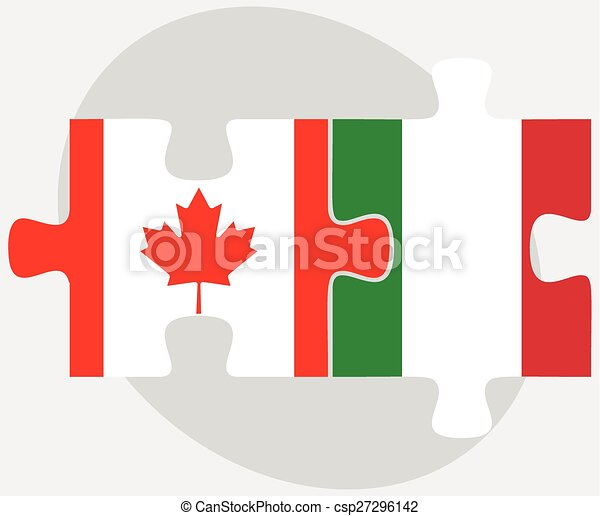 Canada and Italy Flags in puzzle - csp27296142