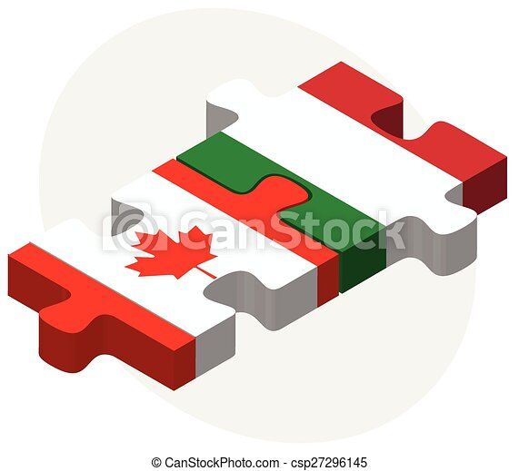 Canada and Italy Flags in puzzle - csp27296145