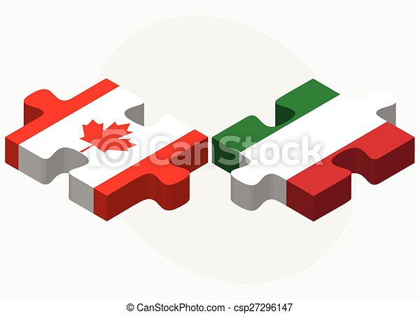 Canada and Italy Flags in puzzle - csp27296147
