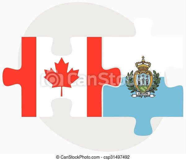Canada and San Marino Flags - csp31497492