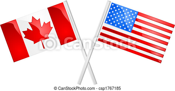canada and usa glossy illustration of the canadian and american rh canstockphoto com american flag clipart black and white american flag clipart images