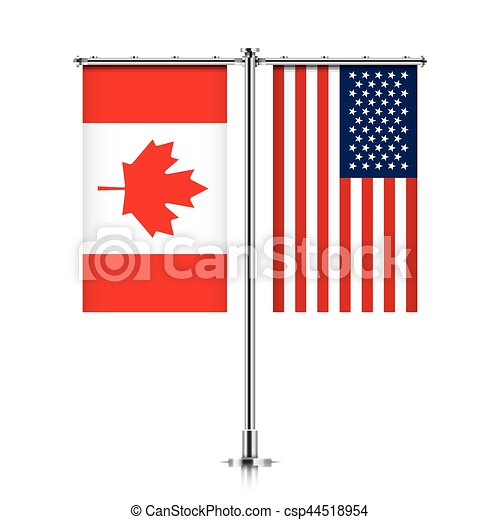 Canada and USA flags hanging together