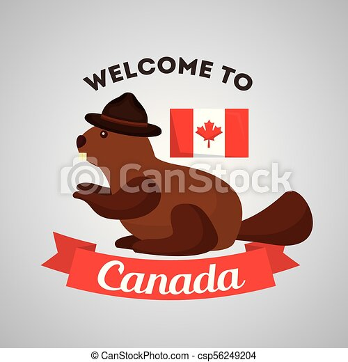 Canada Country Symbols Welcome To Canada Beaver With Hat And Flag