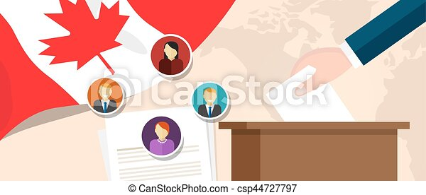 Canada democracy political process selecting president or parliament member with election and referendum freedom to vote - csp44727797