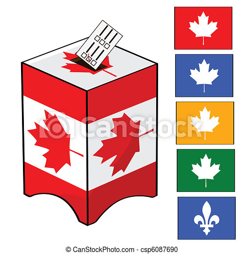 Canada election. Illustration of a ballot box with the ...