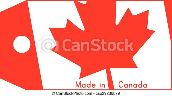 canada, fait, mot, coût, isolé, illustration, arrière-plan., drapeau, étiquette, vecteur, blanc - csp29236879