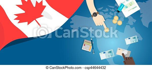 canada, fiscal, concept, financier, carte, argent, budget, illustration, commercer, monnaie, drapeau, banque - csp44644432