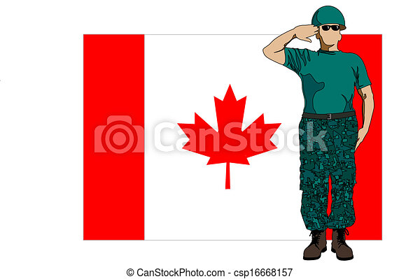 Canada flag and soldier - csp16668157