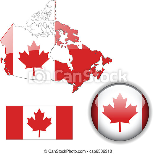 Canada flag map and button - csp6506310