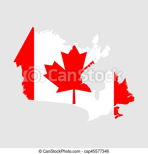 Drawing Of Canada Flag Map Csp Search Clip Art - Canada map with flag