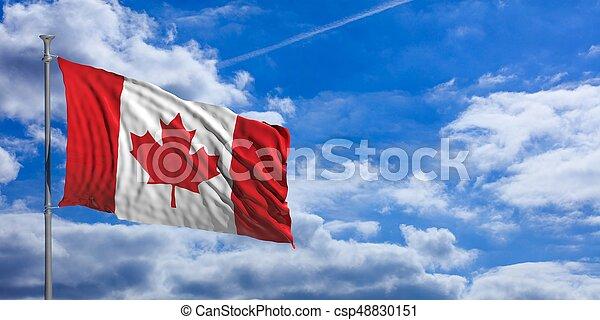 Canada flag on a blue sky background. 3d illustration - csp48830151