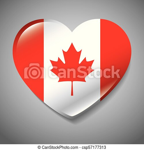canada flag with heart shape - csp57177313