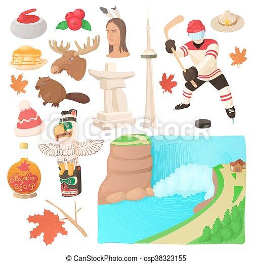 Canada icons set, cartoon style - csp38323155
