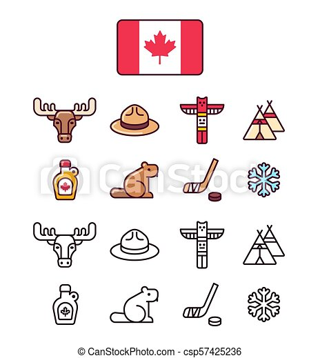 Canada icons set. traditional canadian signs and symbols ...