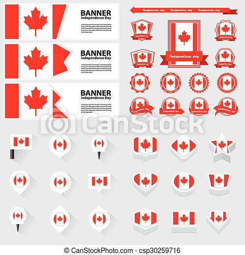 canada independence day, infographic, and label Set. - csp30259716