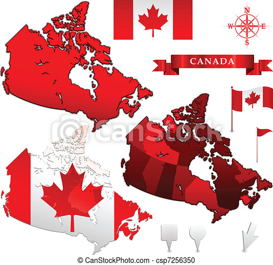 Canada map and flag vector clipart Search Illustration Drawings