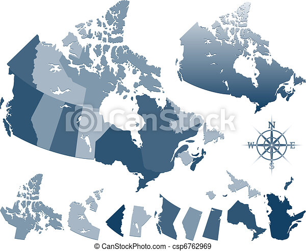 Blue vector geopolitic canada map and provinces eps vectors Search