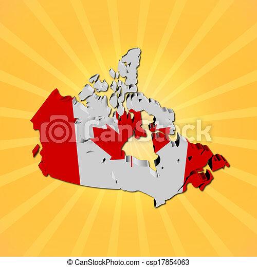 Canada Map Flag.Canada Map Flag On Sunburst Illustration