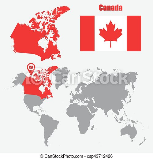 Canada map on a world map with flag and map pointer vector canada map on a world map with flag and map pointer vector illustration gumiabroncs Choice Image