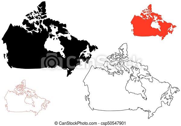 Canada map vector illustration scribble sketch canada vector