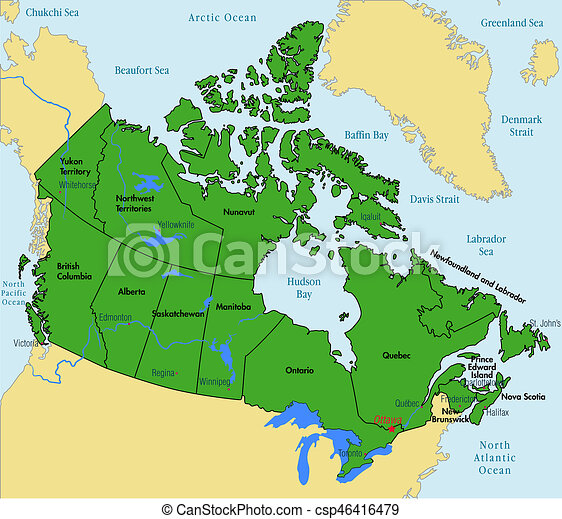 Canada map with regions and their capitals. Vector highly detailed ...