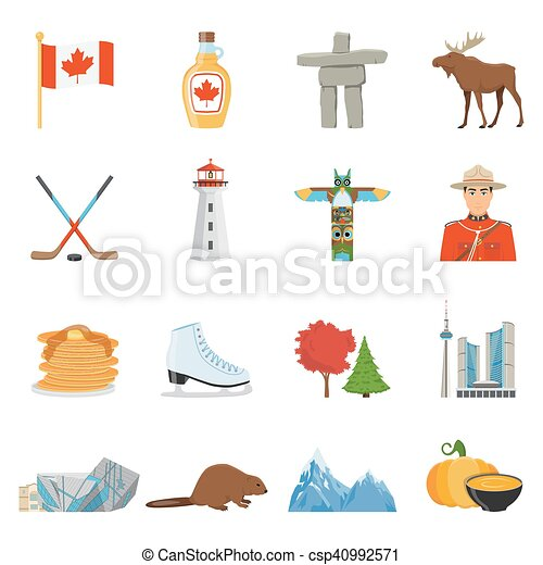 Canada national symbols flat icons collection. Canadian ...