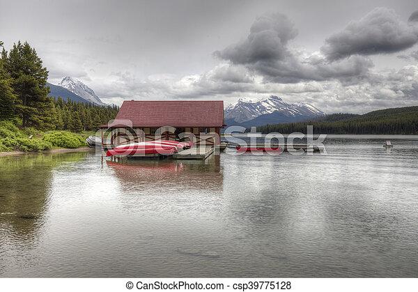 canada, nazionale, -, lago, parco, diaspro, alberta, maligne - csp39775128
