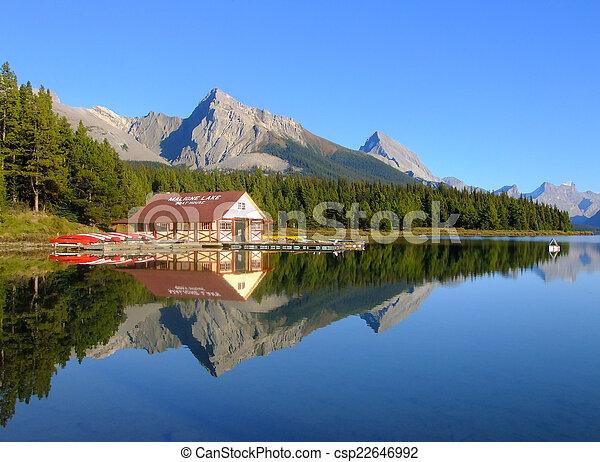canada, nazionale, lago, parco, diaspro, alberta, maligne - csp22646992