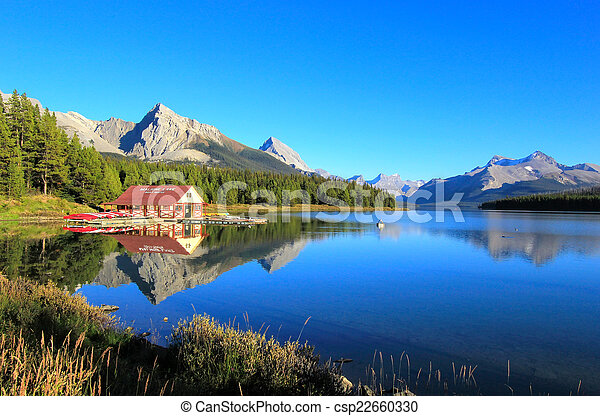 canada, nazionale, lago, parco, diaspro, alberta, maligne - csp22660330
